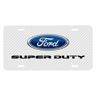iPickimage® - Carbon Fiber Texture Graphic UV License Plate with Super Duty Style Logo and and Ford Emblem