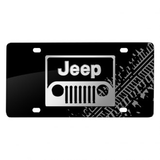 iPickimage® - Tire Mark Black License Plate with 3D Jeep Grill Logo