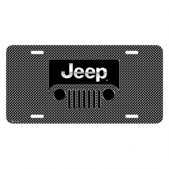 iPickimage® - Mesh Grill Graphic License Plate with Jeep Grill Logo