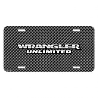 iPickimage® - Mesh Grill Graphic License Plate with Wrangler Unlimited Logo