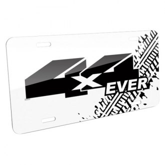 iPickimage® - Tire Mark White License Plate with 4X4 Ever Logo