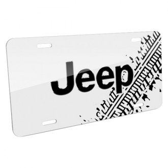 iPickimage® - Tire Mark White License Plate with Jeep Logo