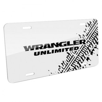 iPickimage® - Tire Mark White License Plate with Wrangler Unlimited Logo