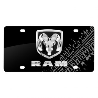 iPickimage® - Tire Mark Black License Plate with 3D RAM Logo