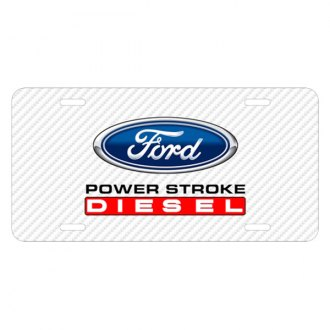 iPickimage® - Carbon Fiber Texture Graphic UV License Plate with Ford Power Stroke Diesel Logo