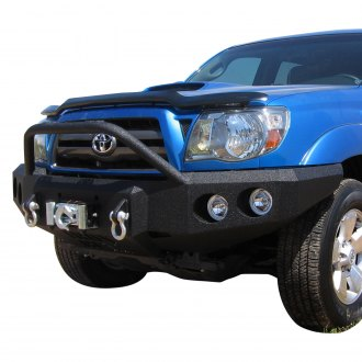 Iron Bull Bumpers® - Full Width Black Front Winch HD Bumper with Light Bar