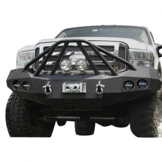 Iron Bull Bumpers® - Full Width Black Front Winch HD Bumper with Defender 6 Guard