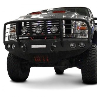 Iron Bull Bumpers® - Full Width Black Front HD Bumper with Enforcer Guard