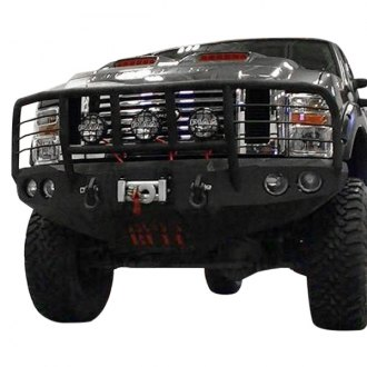 Iron Bull Bumpers® - Full Width Black Front Winch HD Bumper with Enforcer Guard