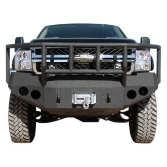 Iron Bull Bumpers® - Full Width Black Front Winch HD Bumper with Lock & Load Guard