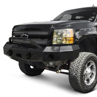 Iron Cross® - Heavy Duty Series Full Width Black Front Winch HD Bumper with Push Bar