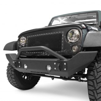 Iron Cross® - Full Width Black Front HD Bumper with Push Bar