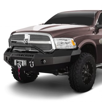 Iron Cross® - Heavy Duty Series Full Width Black Front HD Bumper with Push Bar