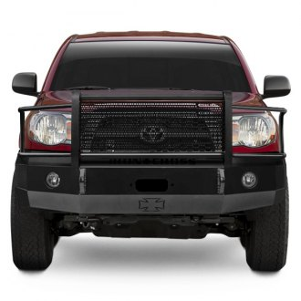 Iron Cross® - Heavy Duty Series Full Width Black Front Winch HD Bumper with Grille Guard