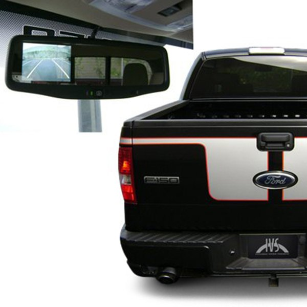 "IVS® - Rear View Mirror with Built-in 3.5"" Monitor and Black Tailgate Handle Mount Camera"