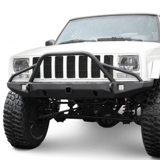 "JcrOffroad® - Defender Full Width Front HD Bumper with Pre-Runner Guard and 2"" Receiver Hitch"