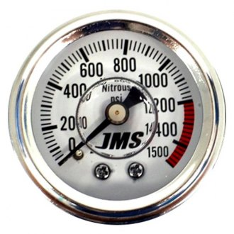 "JMS® - 1.5"" In-Dash Liquid Filled Nitrous Pressure Gauge, White, 0-1500 PSI"