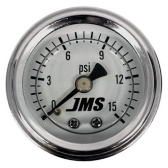"JMS® - 1.5"" White Liquid Filled Fuel Pressure In-Dash Gauge 0-15 PSI"