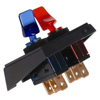 JT&T® - 20A/12V S.P.S.T. Illuminated On/Off Red and Blue Duckbill Switches in Panel Mount Combination