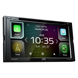 "JVC® - Double DIN DVD/CD/AM/FM/MP3/WMA/AAC/FLAC Receiver with 6.8"" Touchscreen Display, Built-In Bluetooth and SiriusXM Ready and Apple CarPlay, Wireless Android Auto, WebLink, High-Resolution Audio, iDatalink Maestro Ready,13-Band EQ"