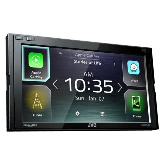 "JVC® - Double DIN AM/FM/MP3/WMA/FLAC/AAC/MP4/AVI Digital Media Receiver with 6.8"" Touchscreen Display Built-In Bluetooth Apple CarPlay and SiriusXM Ready"