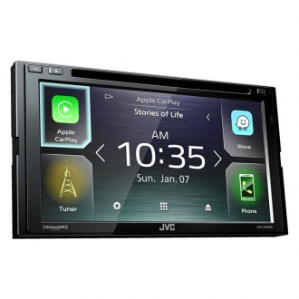 "JVC® - Double DIN DVD/CD/AM/FM/MP3/WMA/FLAC/AAC/MP4/AVI Receiver with 6.8"" Touchscreen Display Built-In Bluetooth Apple CarPlay and SiriusXM Ready"