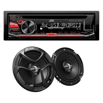 "JVC® - Single DIN CD/AM/FM/MP3/WMA Receiver with Aux Input, USB Port, Detachable Faceplate and 300W 6-1/2"" 2-Way Coaxial Speakers"