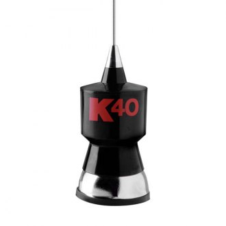 K40® - 57.25 Baseload Black CB Antenna Kit with Stainless Steel Whip with Red K40 Logo