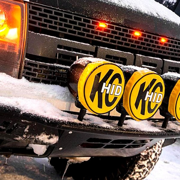 KC HiLiTES® - Round Yellow Vinyl Light Covers With Black KC Hid Logo