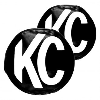"KC HiLiTES® - 5"" Round Black Vinyl Light Covers with White KC Logo for Apollo™"