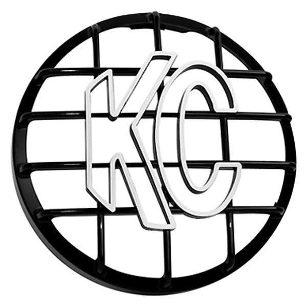 "KC HiLiTES® - 8"" Round Black ABS Light Grille with White KC Logo for Rally 800, Pro-Sport Series"