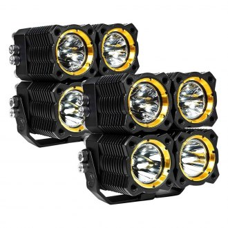 "KC HiLiTES® - Flex Series Rectangular Black/Yellow Housing LED Lights (2.45"", 4.25"")"