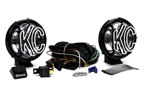 KC HiLiTES® - Apollo Black Polymax Lights with Stone Guards