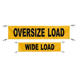 "Keeper® - 18"" x 84"" Yellow Oversize Load/Wide Load"" Reversible Banner with Grommets"