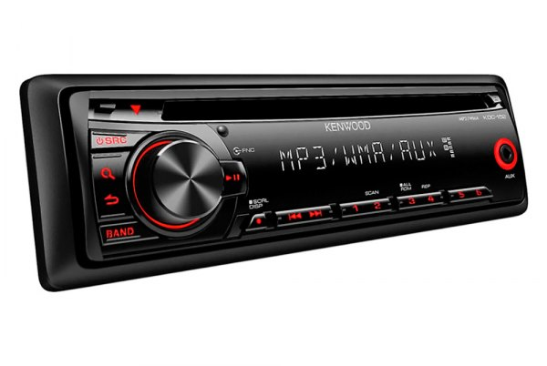 Kenwood® - Single DIN In-Dash CD/MP3/WMA/AM/FM Receiver with Auxiliary Input and Red Illumination