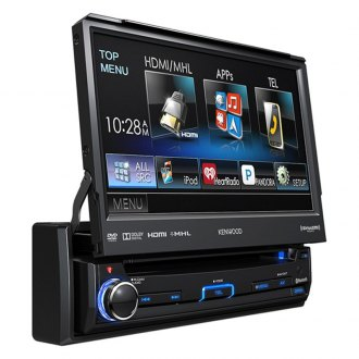 "Kenwood® - Single DIN DVD/CD/AM/FM/MP3/WMA/FLAC/AAC Receiver with 7"" Motorized Touchscreen Display, Built-In Bluetooth, SiriusXM Ready, Pandora and iHeartRadio Ready"
