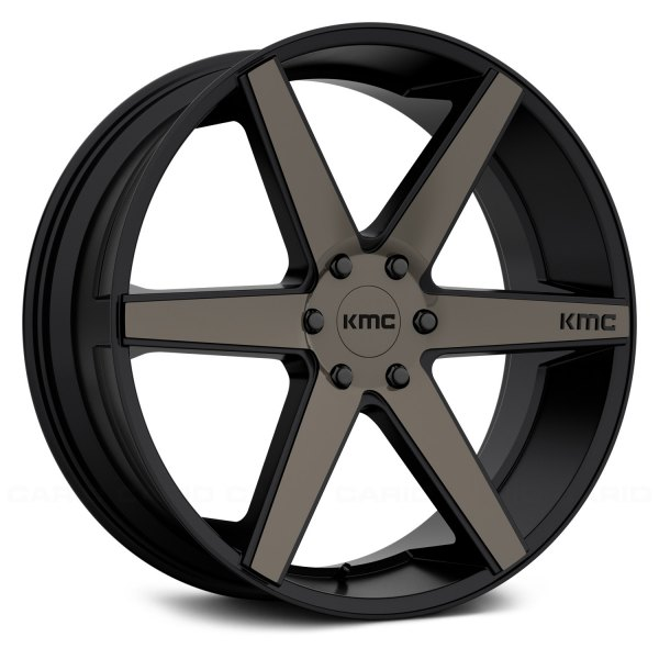 KMC® - KM704 Satin Black with Machined Face and Tinted Clear Coat
