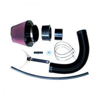 K&N® - 57i Series Generation I Flex Hose Black Cold Air Intake System with Intake Pipe with Red Filter