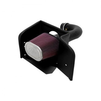 K&N® - 57 Series FIPK Generation II High-Density Polyethylene Black Cold Air Intake System with Intake Pipe and Heat Shield with Red Filter