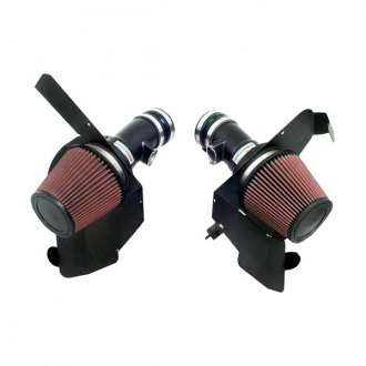 K&N® - 69 Series Typhoon® Aluminum Flat Black Cold Air Intake System with Red Filter