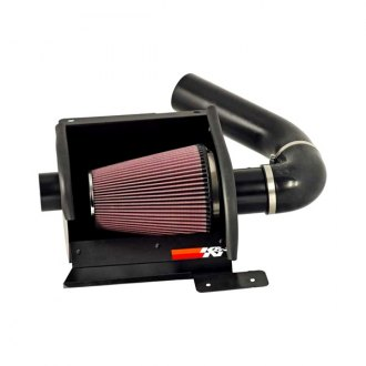 K&N® - 77 Series High-Flow Performance Aluminum Textured Black Cold Air Intake System with Red Filter