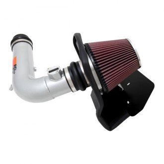 K&N® - 77 Series High-Flow Performance Aluminum Silver Cold Air Intake System with Red Filter