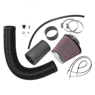 K&N® - 57i Series Generation I Flex and Rubber Hose Black Cold Air Intake System with Red Filter and Intake Pipe