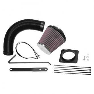 K&N® - 57i Series Generation I Flex Hose Black Cold Air Intake System with Red Filter with Intake Pipe