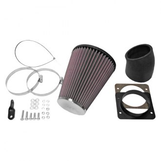 K&N® - 57i Series Generation I Rubber Black Cold Air Intake System with Red Filter and Intake Pipe