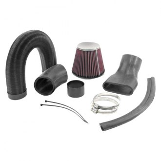 K&N® - 57i Series Generation I Flex and Rubber Hose Black Cold Air Intake System with Red Filter with Intake Pipe