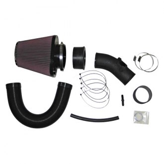 K&N® - 57i Series Generation I High-Density Polyethylene and Flex Hose Black Cold Air Intake System with Red Filter and Intake Pipe
