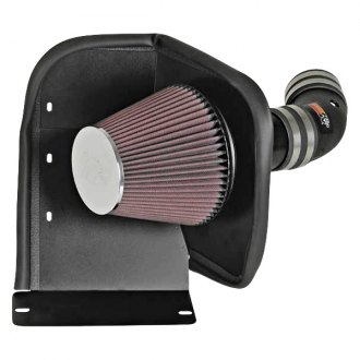 K&N® - 63 Series AirCharger® High-Density Polyethylene Black Cold Air Intake System with Red Filter