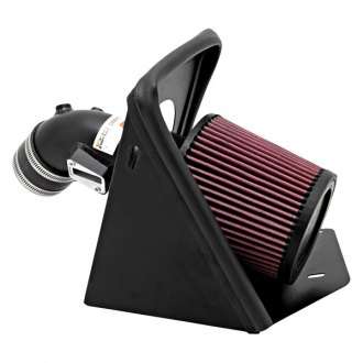 K&N® - 69 Series Typhoon® Aluminum Textured Black Cold Air Intake System with Red Filter