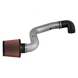 K&N® - 69 Series Typhoon® Aluminum Silver Short Ram Air Intake System with Red Filter